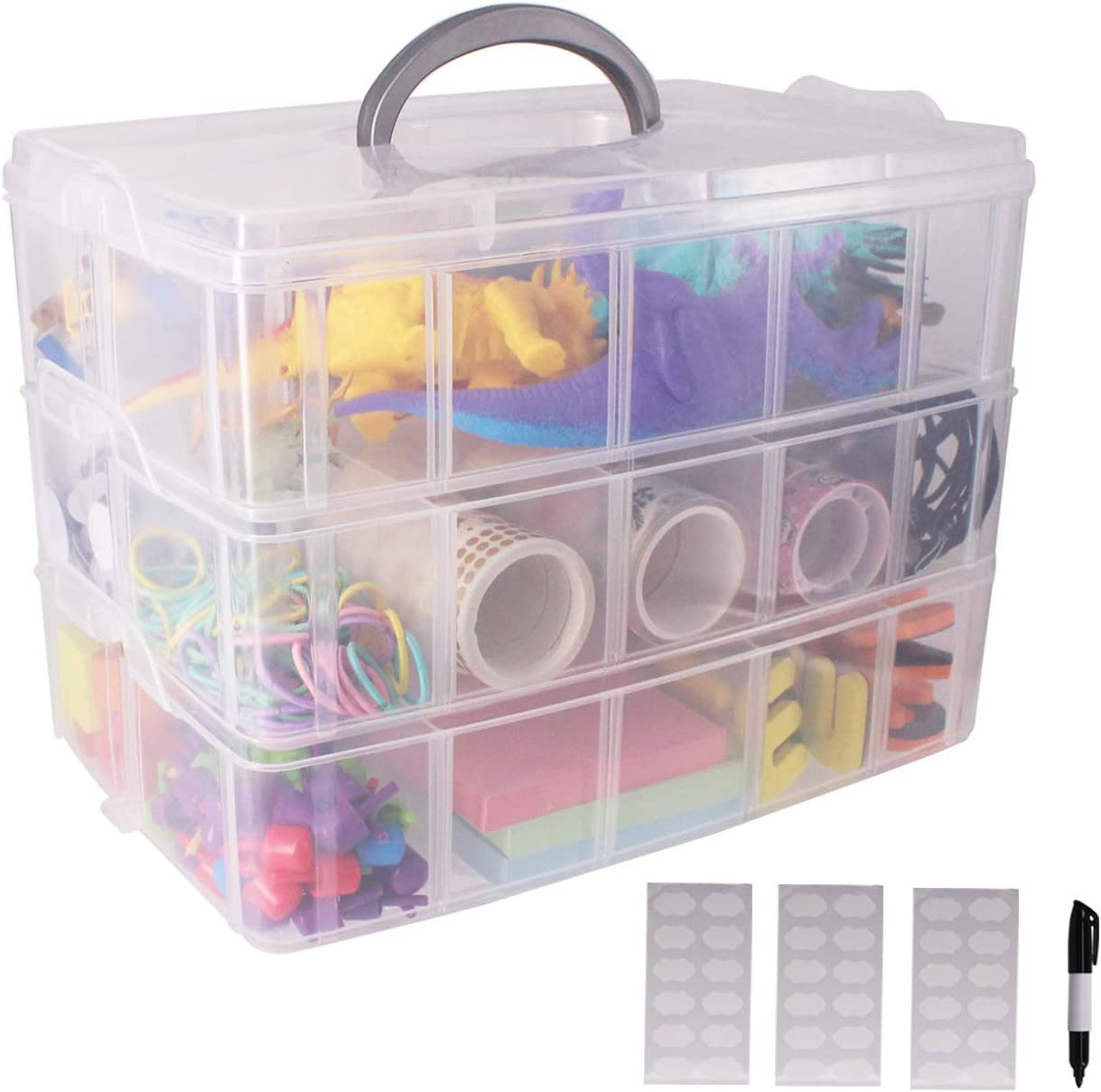 SUITUS 3-Tier Plastic Organizer Box with Adjustable Dividers, Clear Stackable Craft Storage Container Box with 30 Compartments, Ideal for Art DIY Craft, Beads, Fishing Tackles (9.8X6.7X7.1 Inch)