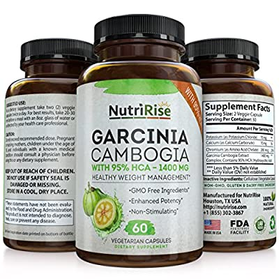 95% HCA Pure Garcinia Cambogia Extract - Highest Potency For Fat Burn & Weight Loss - Natural Clinically Proven Appetite Suppressant. Best Carb Blocker For Men & Women - 60 Diet Pills. Made in USA