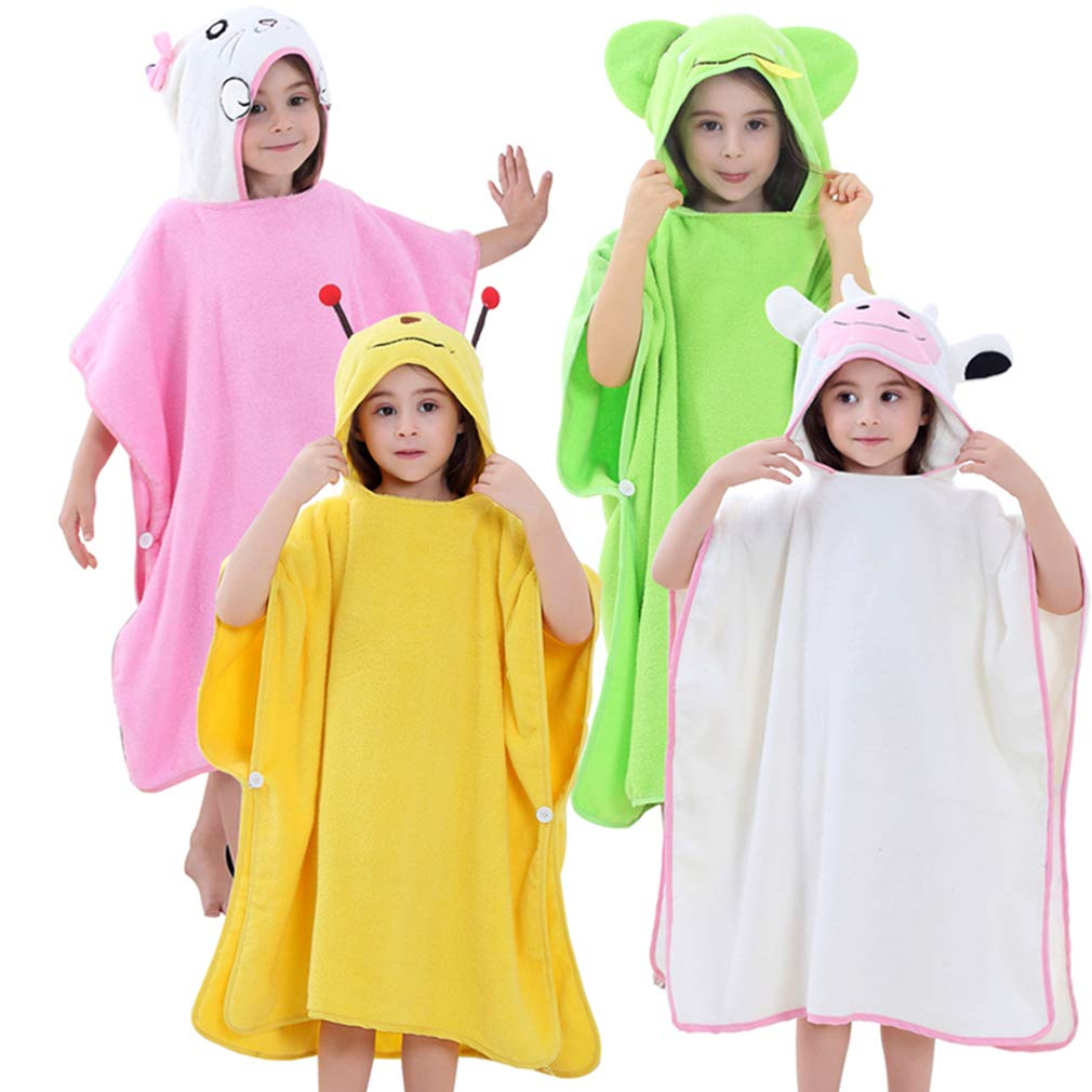 ZMH Albornoz De La Cabeza del Sistema De Los Niños del Algodón, Toalla Principal De Los Niños DE 1-7 Años, Cinco Patrones del Color Opcionales,Green: ...