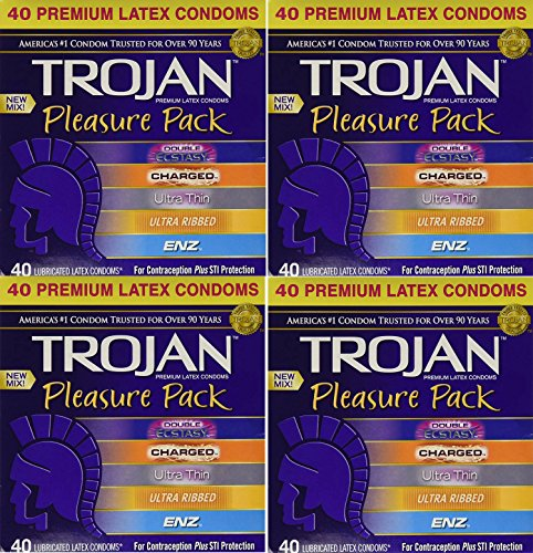 Trojan, Pleasure Pack Premium SddCM Lubricated Latex Condoms 40 Count (Pack of 4) AVuSs by Trojan
