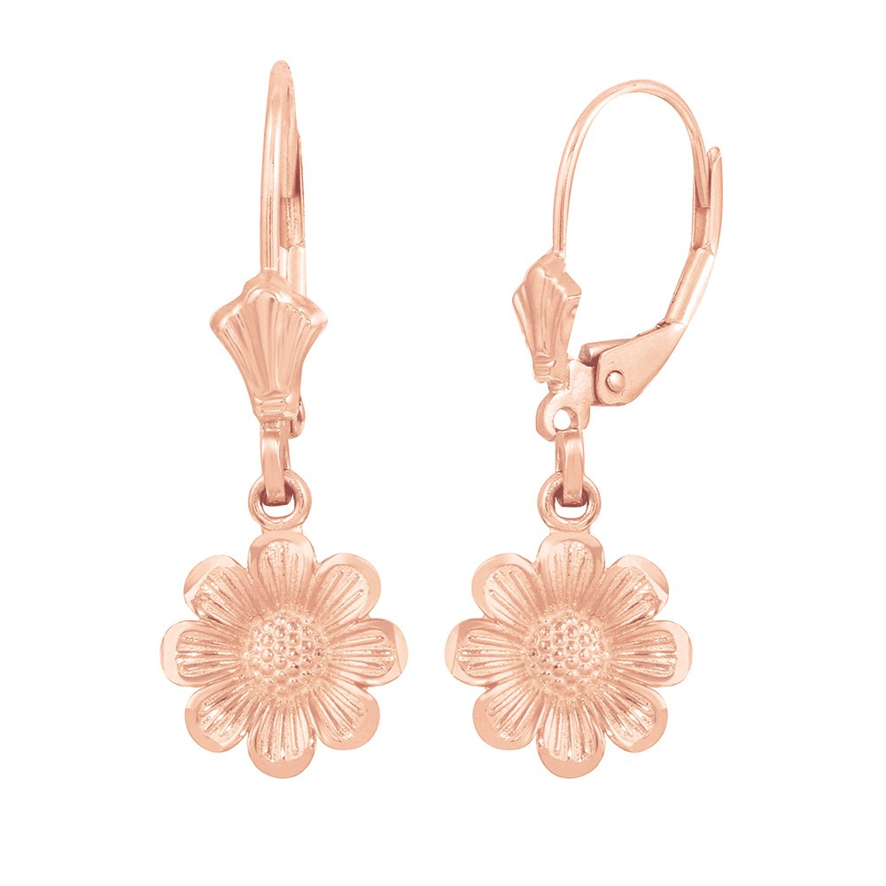 Fine 14k Rose Gold Sunflower Dangle Earrings