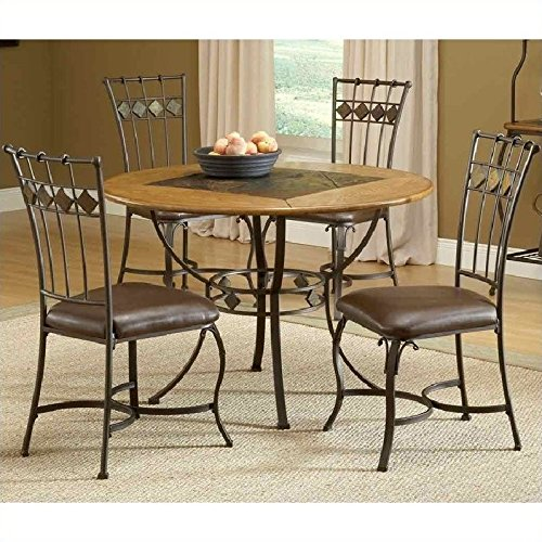 Lakeview 5 Pc Round Dining Set w Slate Chairs