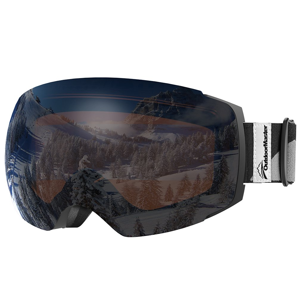OutdoorMaster Ski Goggles PRO - Frameless, Interchangeable Lens 100% UV400 Protection Snow Goggles for Men & Women ( Black Frame VLT 24% Orange Lens with REVO Silver and Free Protective Case ) by OutdoorMaster