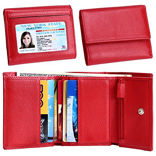 Women Small Wallet Genuine Leather Wallets Trifold Slim Credit Card Holder (Red) (Red Tri Fold)