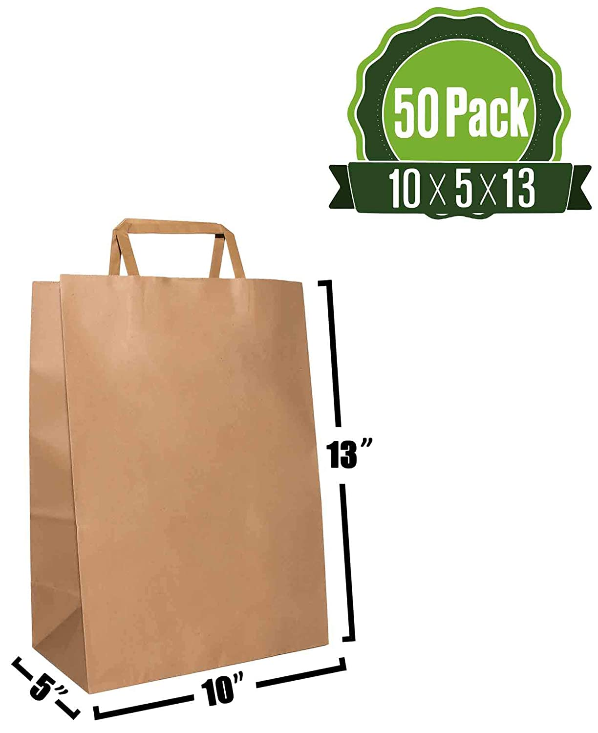 10 X 5 X 13 Brown Kraft Paper Gift Bags Bulk with Flat Handles [50Pc]. Ideal for Shopping, Packaging, Retail, Party, Craft, Gifts, Wedding, Recycled, ...