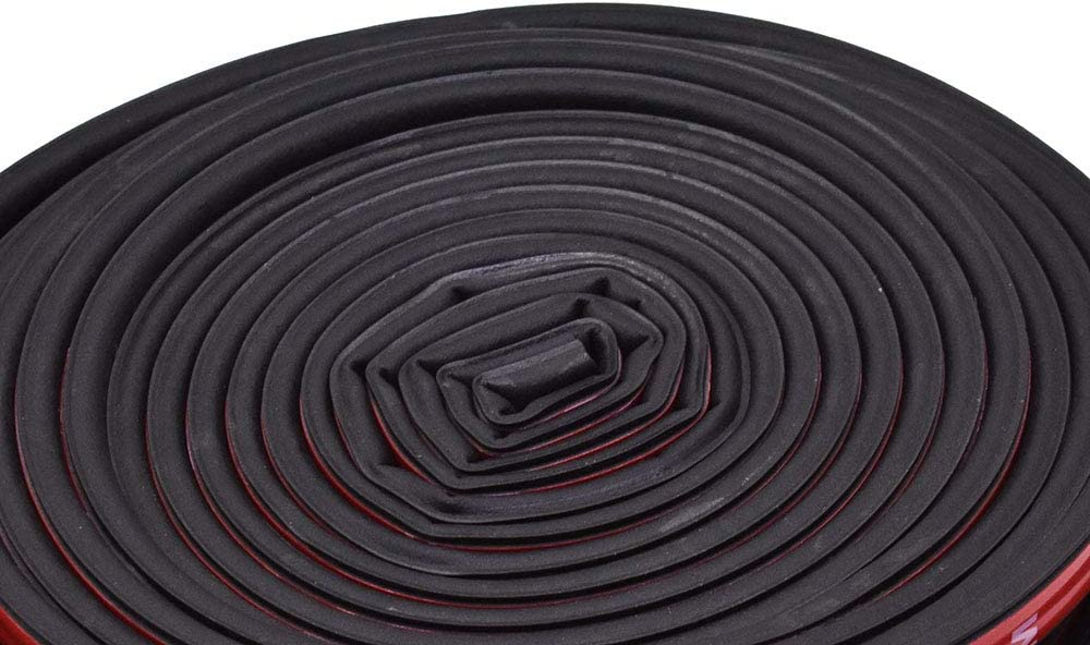 labwork Universal Self Adhesive Auto Rubber Seal Strip 51//100 Inch Wide X 1//5 Inch Thick Weatherstrip 2 Rolls of 16.5 Ft Long for Car Window and Door Engine Cover Soundproofing Total 33 Feet Long