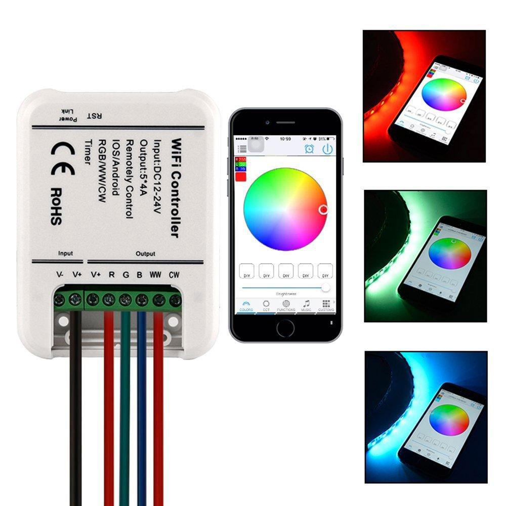 Hangang RGB LED Smart WiFi Controller, 5 Kanäle (RGB + Warmweiß + Kaltweiß) DC 12-24V - iOS oder Android Smartphones Steuerung - ideal für 5050 3528 LED-Streifen (ohne Streifen)