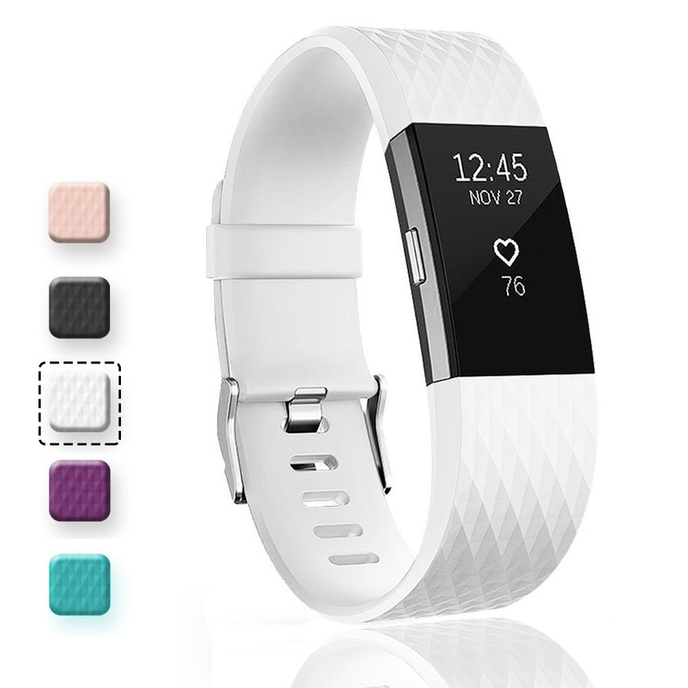 Geak Fitbit Charge 2バンド、Special Edition交換用バンドfor Fitbit charge2 Large Small 12異なる色 B01N7NPHZU Large|#Diamond-White #Diamond-White Large