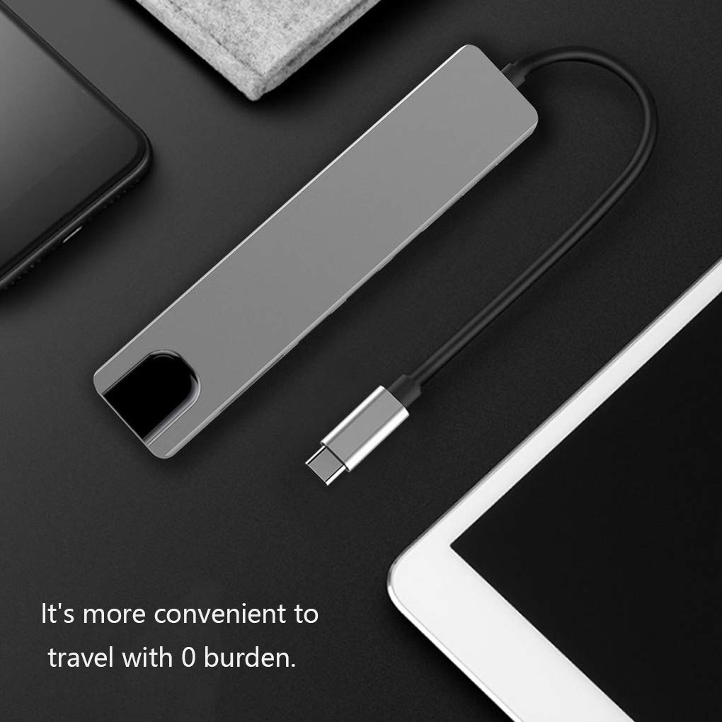 Zerama 8 in 1 USB-C Hub Aluminum Alloy HD 2 USB 3.0 Adapter PD Charging SD /&TF Card Reader RJ45 Portable Laptop Accessories