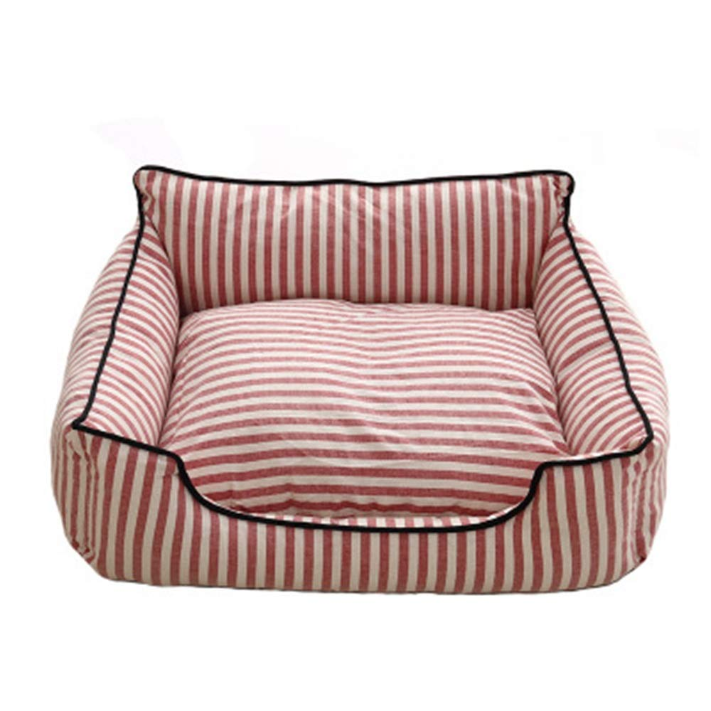 Red M Red M Kennel Washable Classic Striped Cat Litter Four Seasons Taidibi Xiong Bomei Small and Medium-Sized Dog General Pet Nest Small Animal Beds (color   Red, Size   M)