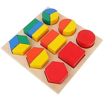 MagiDeal Juego Educativo Bebé Niño Montessori Fracción Material Sensorial Forma Geométrica Juguete de Madera