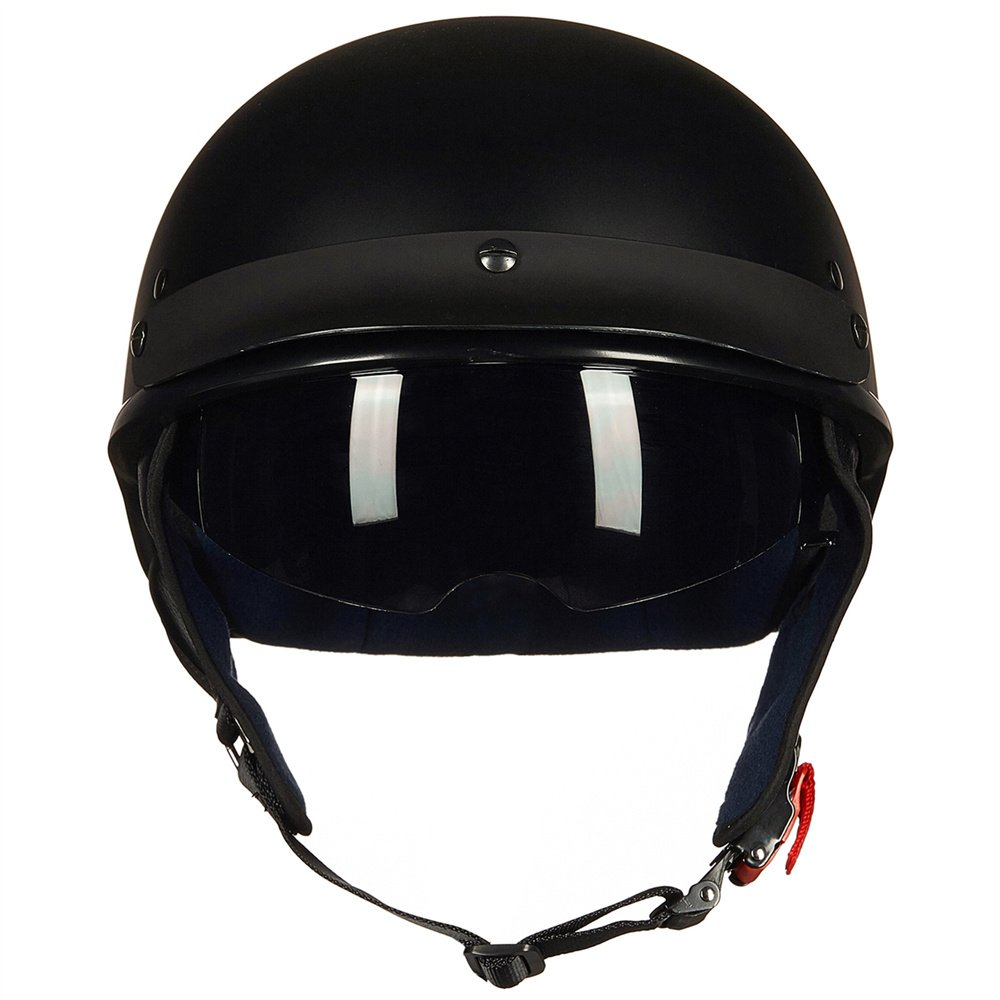 Upgraded ILM Motorcycle Half Helmet With Integrated Sun Visor Quick Release Buckle DOT Approved (M, MATT BLACK) by ILM (Image #2)