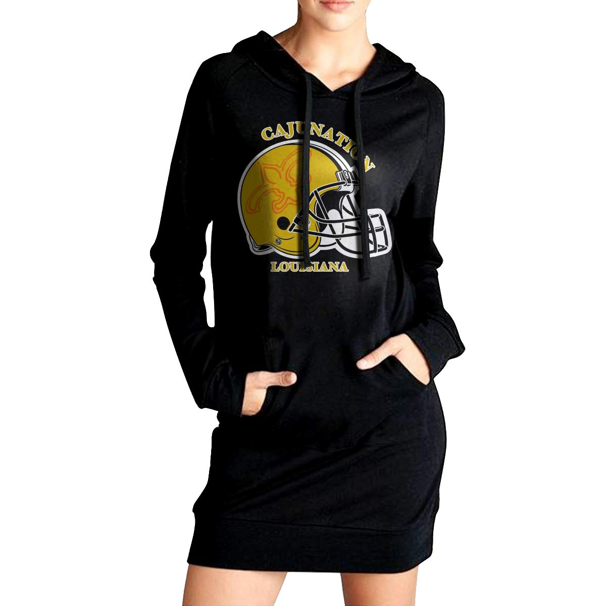 TDYUS DesignName Womens Classic Black Hoodie With Pocket
