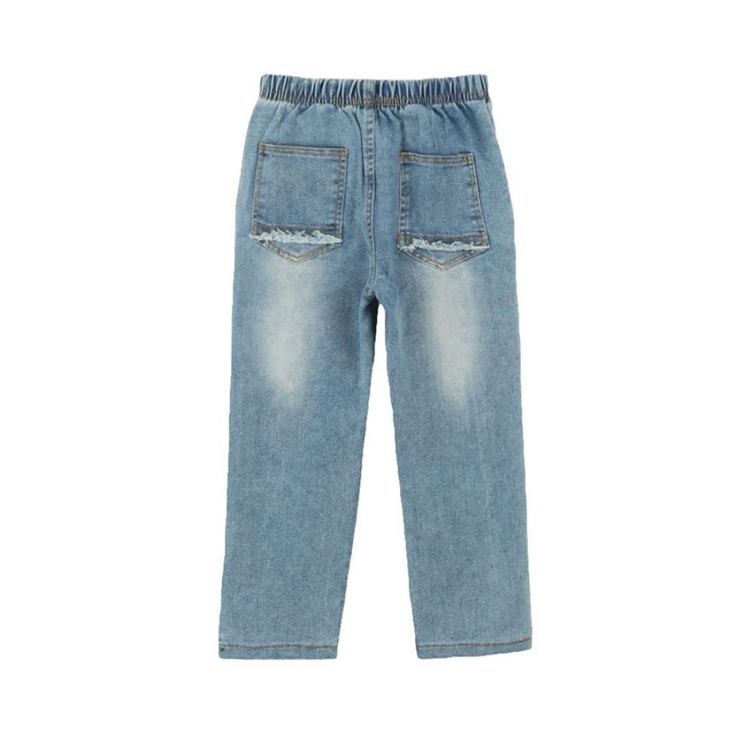 RETUROM Conjuntos de Ropa de Invierno, Niños Chico Cremallera Stretch pantalón Slim Jeans Rotos Pantalones Vaqueros Agujero