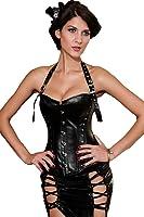 Saphira lingerie. Corset noir en PVC original avec son tour de cou et ses rivets