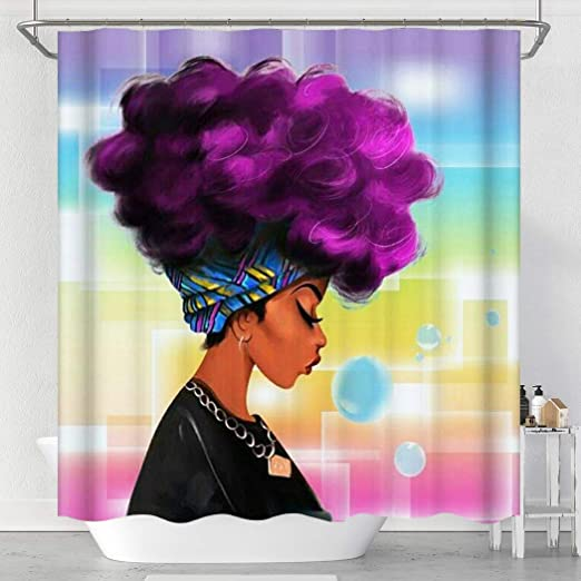 African American Purple afro woman Bathroom Shower Curtain Waterproof 12 Hooks