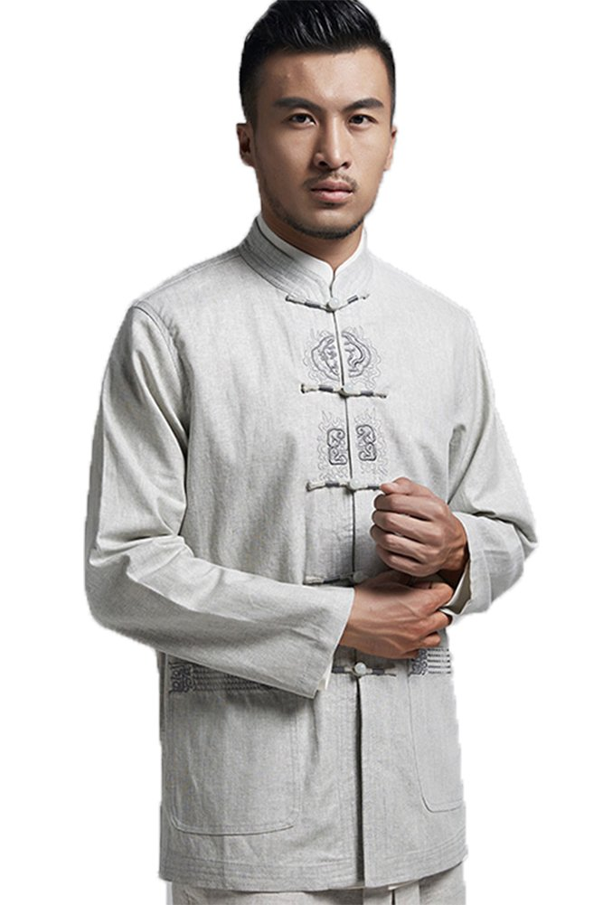 ezShe Men's Chinese Traditional Embroidery Tang Suit Shirt Coat, Grey XL