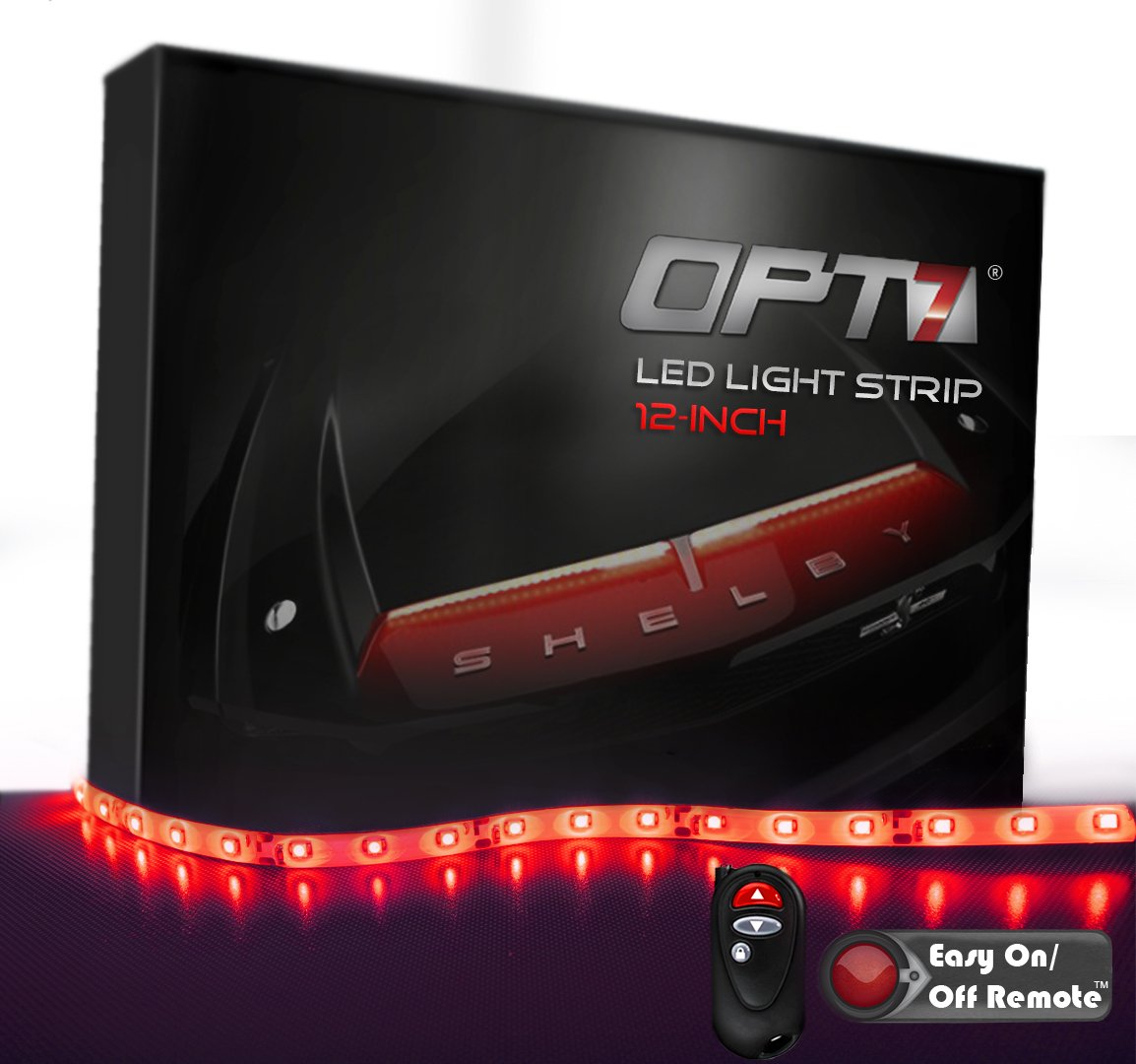 Red 12-Inch OPT7 Advanced Glow LED Strip with Strip Connectors and Remote