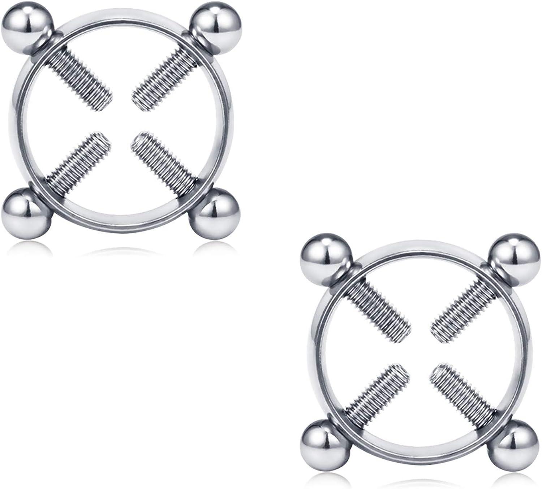 2pcs Rhinestone Heart Dangle Fake Clip On No Non Piercing Nipple Shield Ring