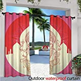Bohemian Outdoor- Free Standing Outdoor Privacy Curtain W96' x L84' Ancient Elephant Goddess with Asian Temple in Medallion Yoga Retro Style for Front Porch Covered Patio Gazebo Dock Beach Home Red P
