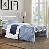 SimLife Metal Platform Bed Frame with Two Headboards Mattress Foundation/Slat Support/No Box Spring Needed, Twin