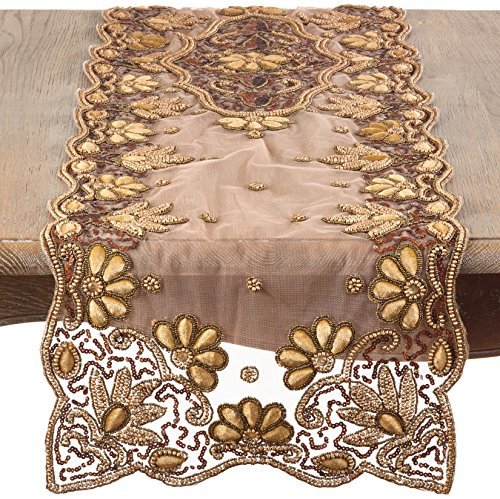 Saro LifeStyle 5283.GL1672B Floral Hand-Beaded Table Runner Gold 16x72 [並行輸入品]   B07518R64H