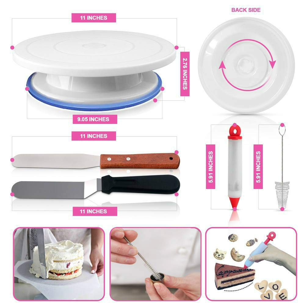 Cake Decorating Supplies - (150 PCS CAKE DECORATING KIT) With Numbered Icing Tips, Tips Chart, Cake Rotating Turntable and More. Create AMAZING Cakes w/this cake set! by Aleeza Cake Wonders (Image #2)