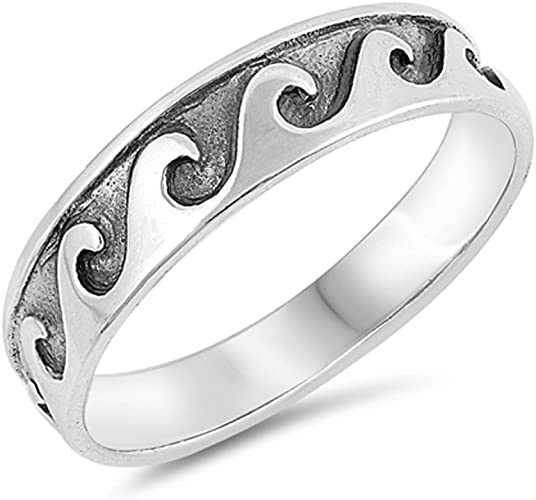 """NEW /""""WAVE/"""" Sterling Silver Rings Design Sizes 4-10"""
