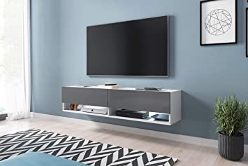 Wander – Fernsehschrank/Tv-Lowboard In Weiß Matt/Grau Hochglanz ...