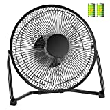 COMLIFE Biggest 11 Inch Rechargeable Metal Desk Fan, Battery Operated or USB Powered Table Fan with 4400mAh Batteries, 2 Speeds, Strong Airflow, Quiet USB Fan for Home, Office and School