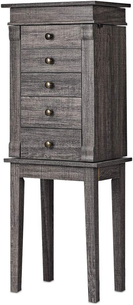 CHARMAID Jewelry Cabinet Armoire with 5 Drawers, Jewelry Box Organizer with Top Flip Mirror, Side Swing Doors, Necklace Hooks Top Storage Organizer, Standing Jewelry Armoire Chest