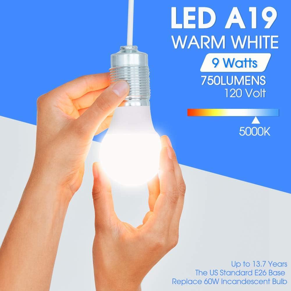 5000K Daylight A19 LED Bulbs 750LM Non-Dimmable UL Listed 4 Pack LED Light Bulbs 60 Watt Equivalent E26 Base