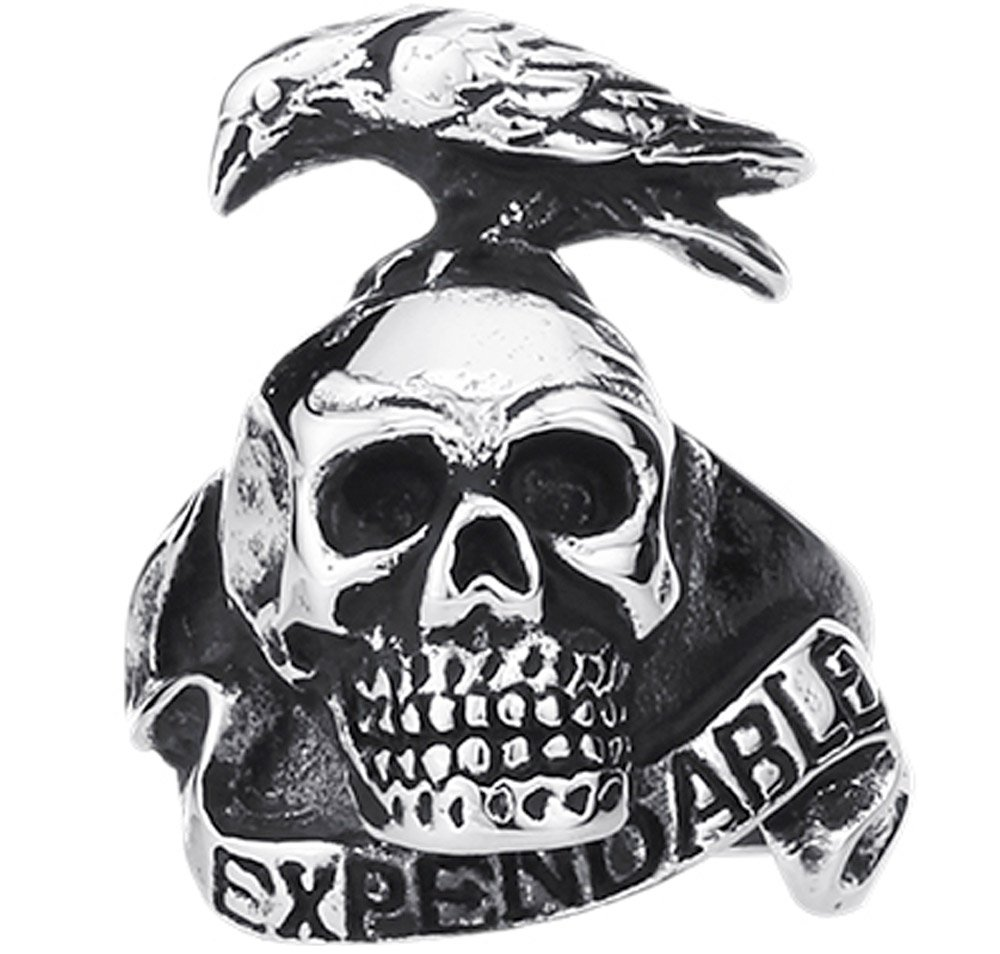 XAHH Men's Fashion Vintage Gothic Tribal Biker Crow Skull Stainless Steel Large Ring Band Silver Black 12 by XAHH (Image #2)