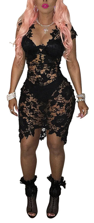 Women's Sexy Deep V-neck Sleeveless See Through Bodycon Party Club Midi Dress (XL, black)