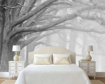 Wapel Noir Et Blanc Moderne Arbre Foret Art Fond Mur Mur 3d De