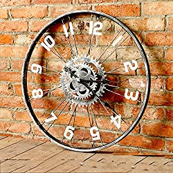 Industrial wind clock,Retro gear wall clock,Round Bar Cafe Read home Office Kitchen Bedrooms School clock Large wall clock,Movement mechanical wheel wall clock-A 20inch