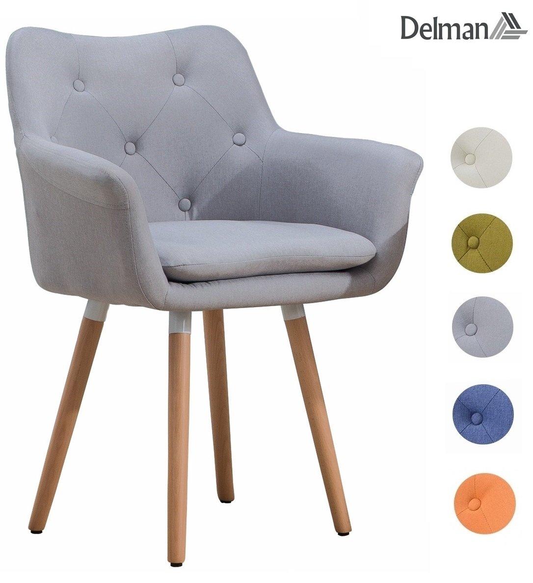 Delman Besucherstuhl Esszimmerstuhl Wohnzimmerstuhl Armsessel Sessel Stoff-Bezug Küchenstuhl 02-0015GY (Grau)
