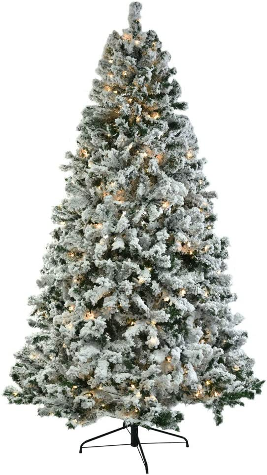 7.5FT Pre-Lit Snow Flocked Artificial Christmas Tree with Solid Metal Stand, Warm White Lights Decorated Christmas Tree Full Flocked Snow Pine Tree for Xmas Holiday Decoration for Home Office Shops