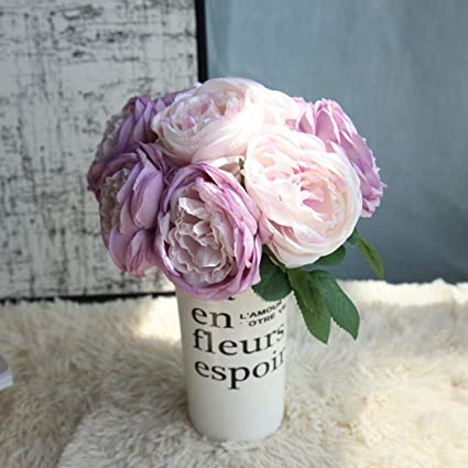 Artificial Fake Rose Silk Flowers 5 Flower Head Leaf Garden Decor Bridal Bouquet