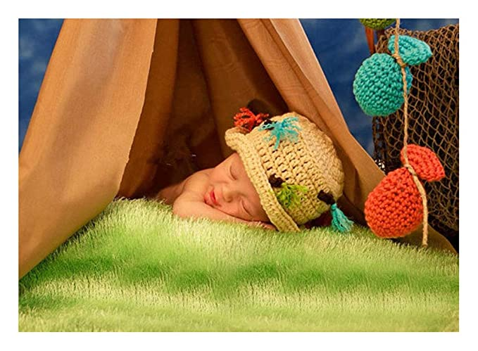 8db1e907040f0 Image Unavailable. Image not available for. Color: Pinbo Baby Fishing Photo  Prop Set Fisherman Handmade Crochet Hat & Fish Lot