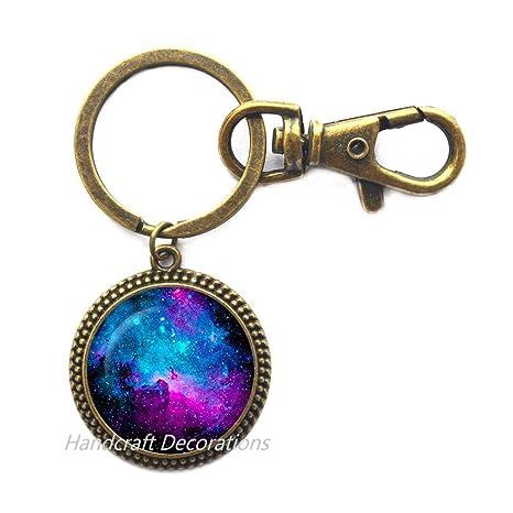 Amazon.com: Llavero de cristal de nebula. llavero galaxy ...
