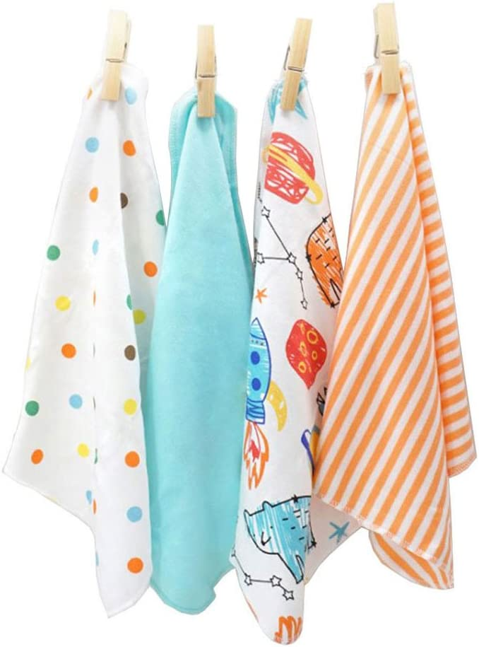 CuteOn 4 PCS Riutilizzabile Neonato Bambino Panno per il viso Alimentazione pulire Stoffa Mini Bambino Asciugamani per Sensibile Pelle 11.02 x 11.02 Blu