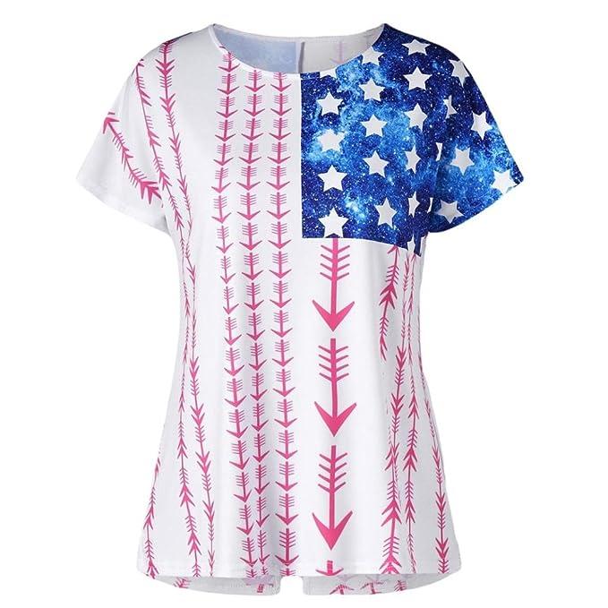 LILICAT® Camiseta de Moda para Mujer 2018 con Manga Corta Camiseta con Estampado de Bandera