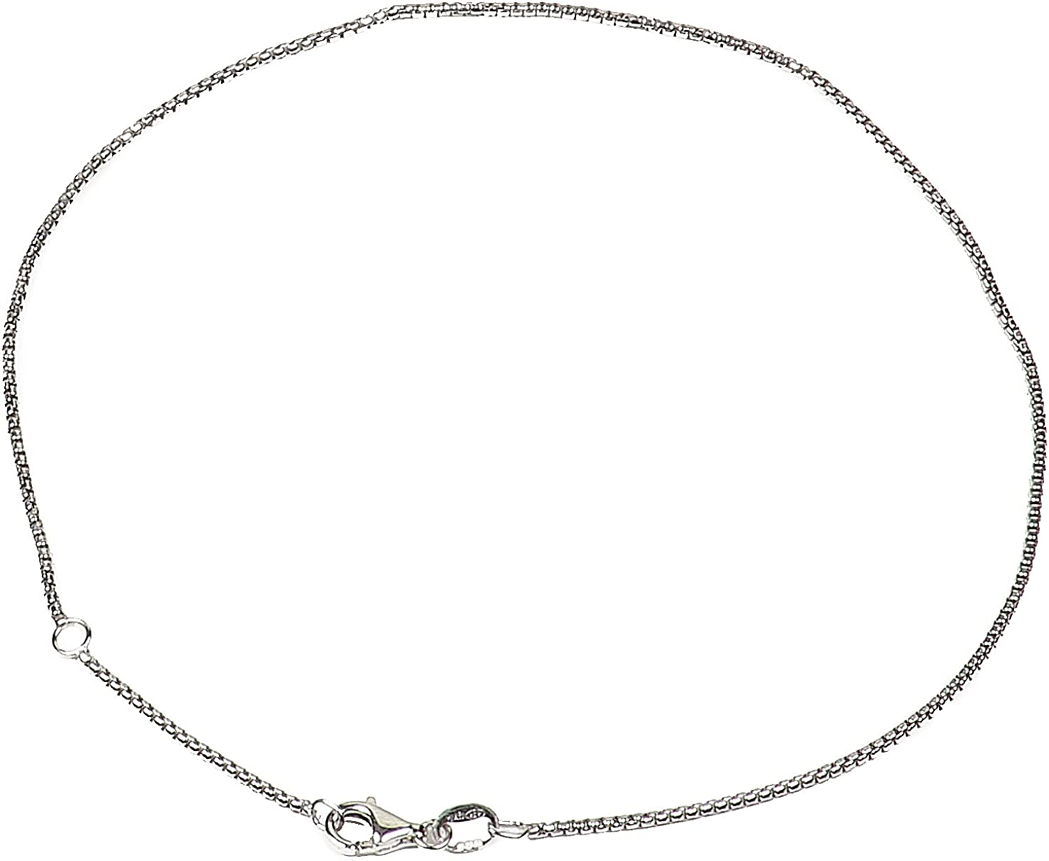 Italian Quality Chain 925 Sterling Silver Chain | Round Box Chain Necklaces for Women or Men and Bracelets for Women or Mens Bracelet | Anti Tarnish