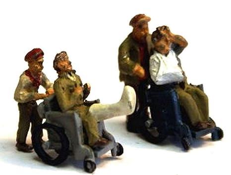 Modelos de Langley 2 sillas de ruedas + pacientes + ayudantes OO escalan Kit F288 sin