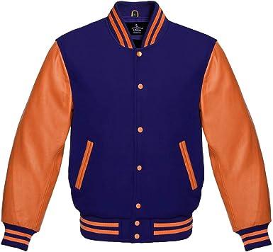 Lishow Fashion Varsity Jacket Baseball Letterman Bomber School College Royal Blue Wool /& Genuine Grey Leather Sleeves