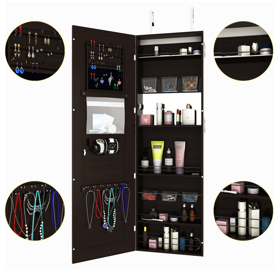 FDegage Jewelry Cabinet Lockable Wall Door Mounted Jewelry Armoire Storage Organizer with Full Length Mirror Valentine's Day Gift by FDegage (Image #2)