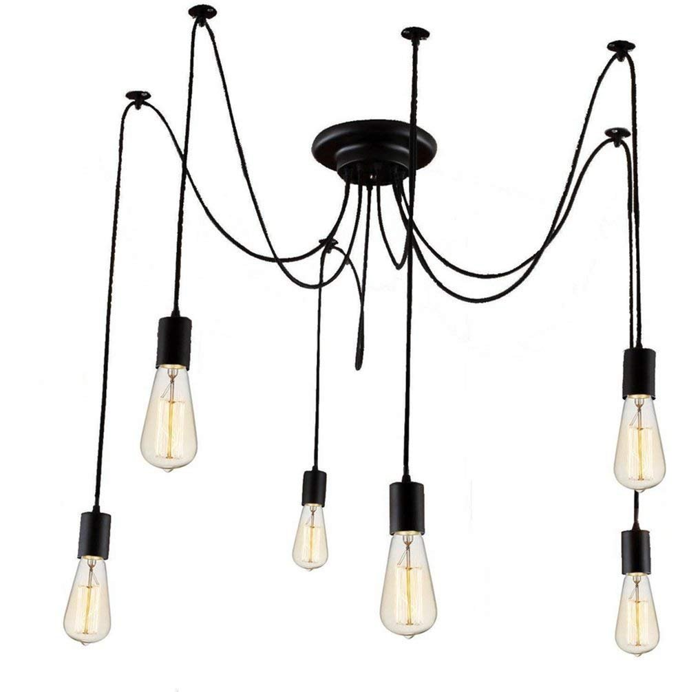 IDEARSEN Antique Classic Adjustable DIY Ceiling Spider Lamp Light, Wire Cord Drop Light Ceiling Lights Creative E27 Retro Chandelier Pendant Dining Hall Bedroom Hotel (6 arms)