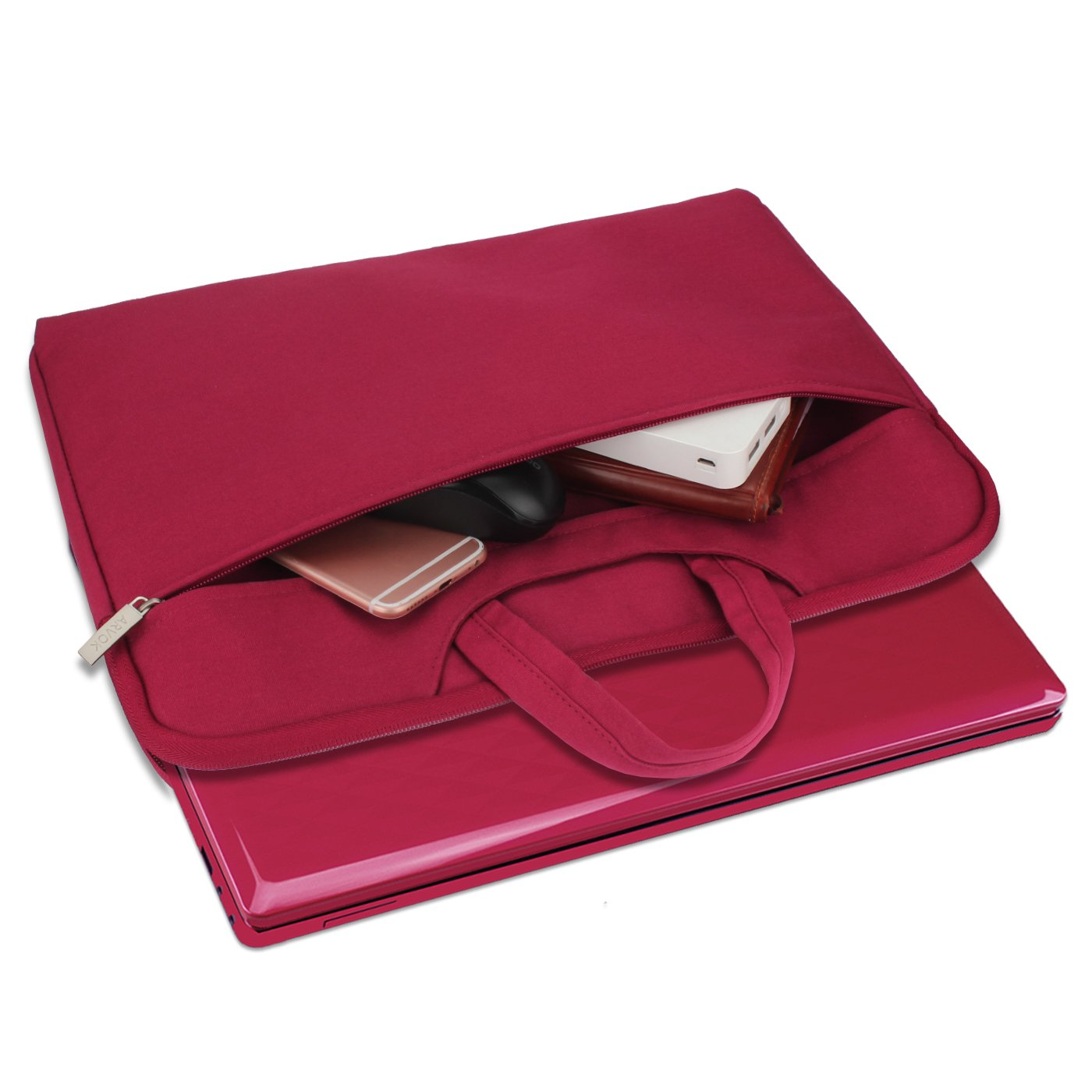 Arvok 15 15.6 16 Inch Water-resistant Canvas Fabric Laptop Sleeve With Handle&Zipper Pocket/Notebook Computer Case/Ultrabook Briefcase Carrying Bag/Pouch Cover For Acer/Asus/Dell/Lenovo/HP,Wine Red by ARVOK (Image #4)