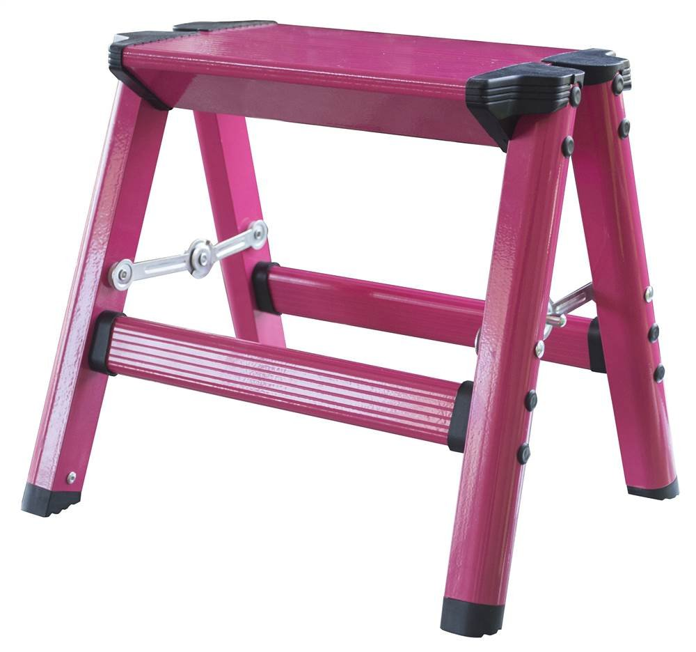 Lightweight Single Step Aluminum Step Stool in Neon Pink